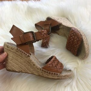 Soludos Braided Cognac Leather Espadrille Wedge